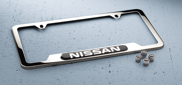 Nissan Chrome License Plate Frame and Valve Stem Caps Package